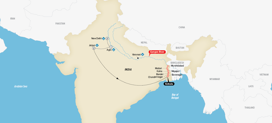 Indias Golden Triangle & the Sacred Ganges Map