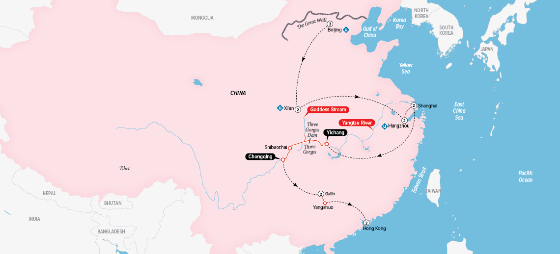Grand China & the Yangtze Map