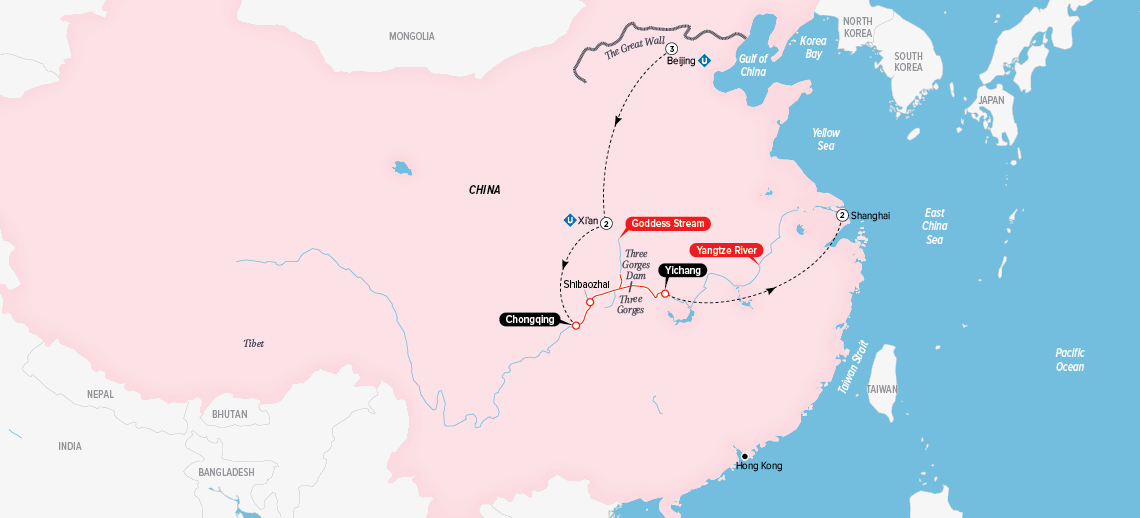 Highlights of China & the Yangtze Map