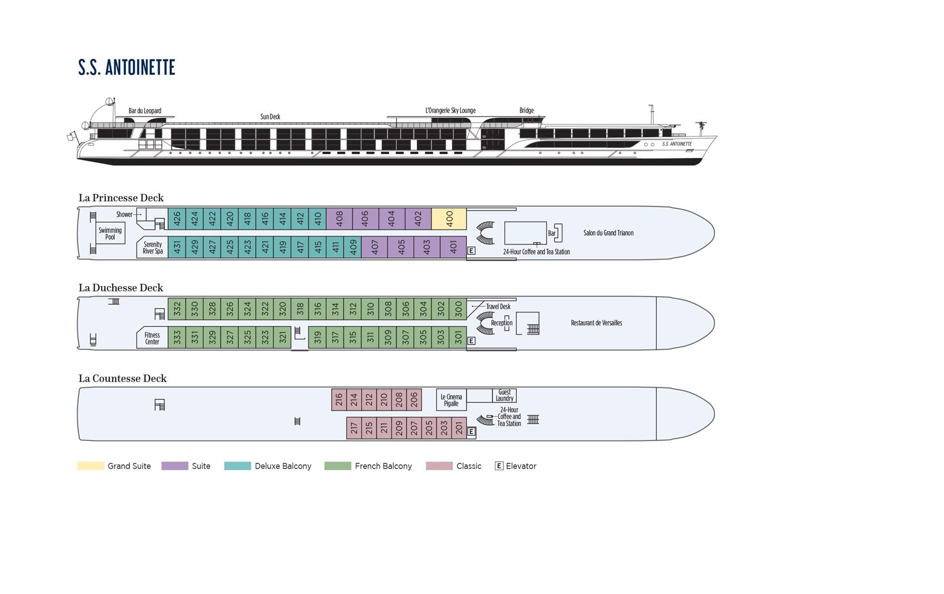 S.S. Antoinette Deck Plan