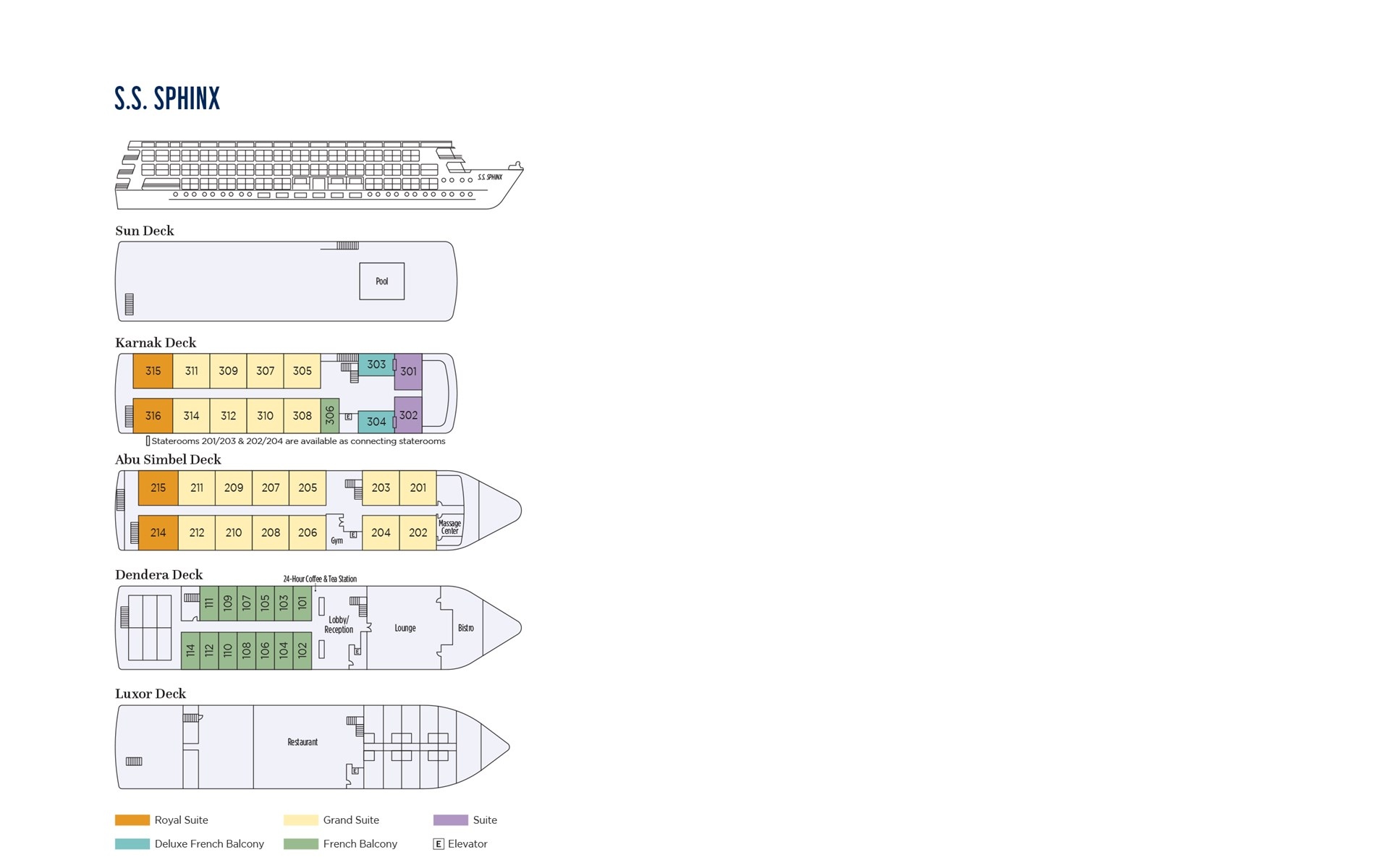 S.S. Sphinx Deck Plan